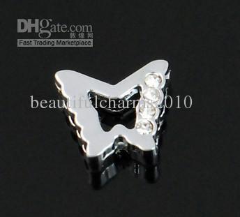 100 pçs / lote 8mm metade strass encantos de slides borboleta acessórios diy fit para 8mm chaveiro pulseira