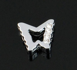 $enCountryForm.capitalKeyWord Canada - 100pcs lot 8mm half rhinestones butterfly slide charms diy accessories fit for 8mm key chain wristband