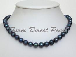 5bdd1ddcab18 Collar de perlas negras de 8 9 mm de agua dulce cultivadas de nueva joyería  de perlas finas 18  de plata 925