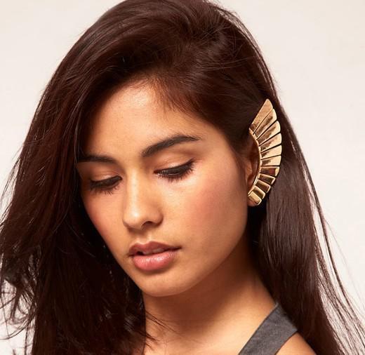 새로운! 패션 빈티지 질감 팬 모양의 클립 스터드 귀걸이 섹스 귀의 커프스 여성 브랜드의 새로운 24pcs