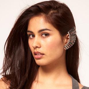 Novo! Moda vintage textura forma de fã clipe brinco do parafuso do setor da orelha manguito mulheres nova marca 24 pcs