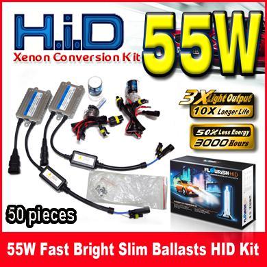 55W Fast Bright Ultra Slim Ballasts HID Xenon Conversion Kits Quick Start 12V Single Beam H1 H3 H4 H7 H8 H9 H11 9004 9005 9006 9007