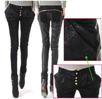 Wholesale Cowboy Sexy Man - Free shipping !!! 2012 women's brand fashion sexy PU splicing leather pants cowboy harlan pants