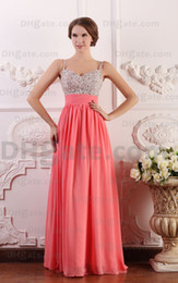 Wholesale Custom Made Dance Dresses - Free Gift Elegant Beading Ruched Zipper-up A-Line Spaghetti Straps Floor-length Chiffon Prom Evening Dresses Dancing Prom Dress DM124