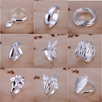 Wholesale vintage vogue - 30pcs lot Mixed Order Multi Styles 925 Sterling Silver Plated Vintage Fashion Vogue Rings #FR102
