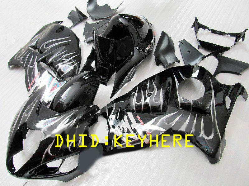 NS05 Vit FLAME ABS MOTO RACING FAIRING KIT FÖR SUZUKI 1996-2007 GSXR1300 GSX R1300 96 07 Hayabusa