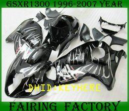 Wholesale Hayabusa Race - NS05 white flame ABS moto racing Fairing KIT for SUZUKI 1996-2007 GSXR1300 GSX R1300 96 07 hayabusa