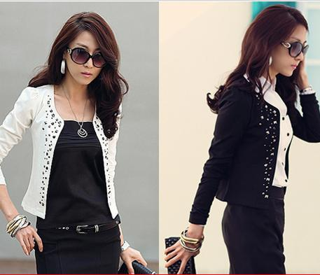 Women's Long Sleeve Shrug Small Coats Lady Jackets Black White 136 ...