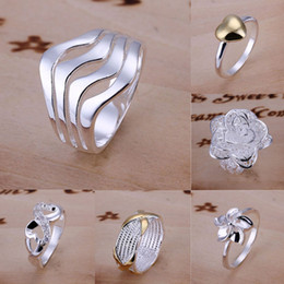 Wholesale Wholesale Sterling Silver Wave Ring - Free Shipping Mixed Order Multi Styles 925 Sterling Silver Wave Flower Braided Multi Rings #FR103