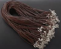 leder schmucksachen großhandel-MIC neue 100 teile / los Kaffee Echtes Leder Halskette Schnur W / Verschlüsse 18,5