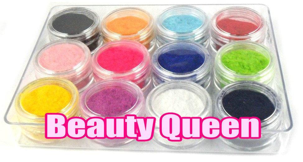 Flock 12 Farben Beflockung Pulver für Soft Velvet Maniküre Nagellack Mode-Nagel-Dekoration Tipps