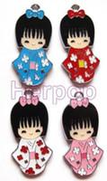 bonecas de joalharia venda por atacado-Lote 50 pcs JAPONÊS BONECAS menina Encantos pingentes DIY Jóias Fazendo artesanato Presente