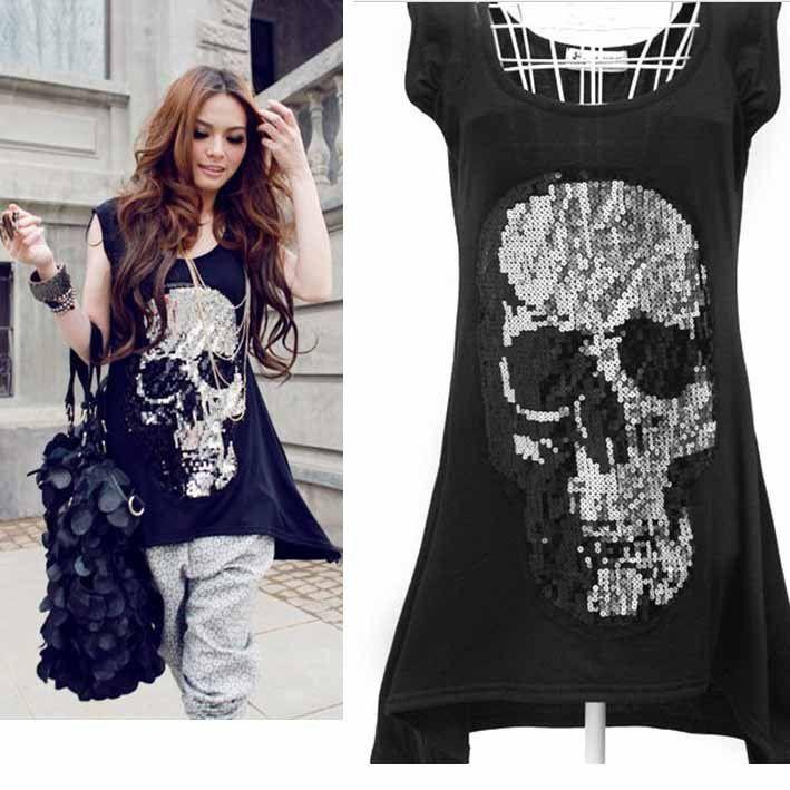 Wholesale Manufacturers Women's Black Hand Sequined Skull ...