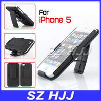 Wholesale Hard Rubber Iphone Holster - Shell Holster Combo Case for iphone 5 5S Hard Rubber Belt Clip Kickstand Back Cover with Retail Package
