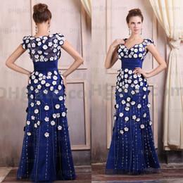 Wholesale Yellow Flower Belt - 2018! Sweetheart Belt Floor Length Flower Applique Fashion Prom Evening Dress With High Back ED031