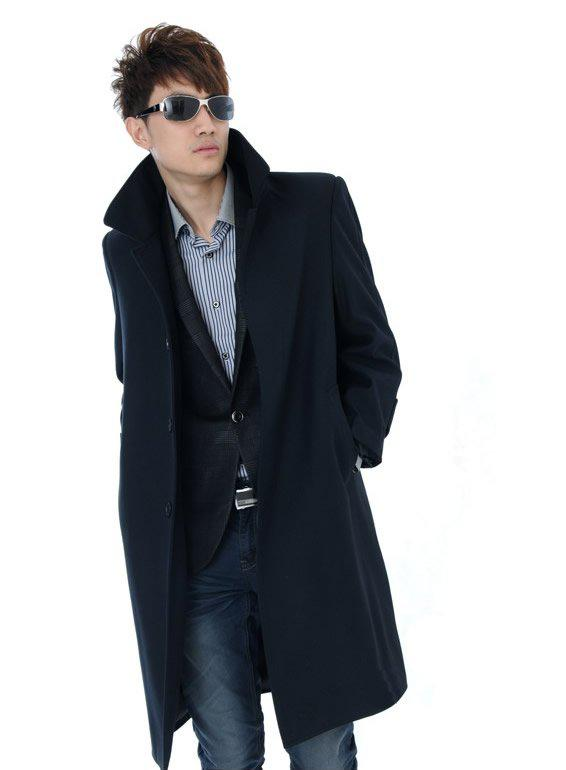 2017 New Fashion Men's Wool Cashmere Long Coats Coat Thickening ...