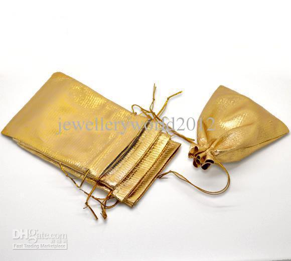 100pcs Gold Tone Satin Presentväskor med dragsko 12x9cm