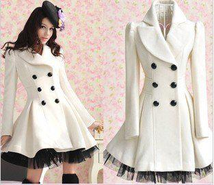 Online Cheap New Women Ladies Girls White Double Breasted Woolen ...