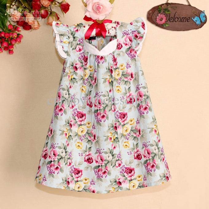 2017 Unique Girl Dresses Little Flower Cotton Princess Party Dress ...