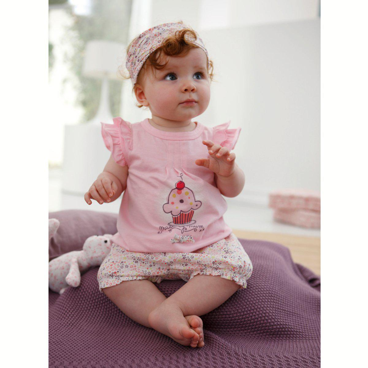 online cheap baby girl suit: floral headband + pink cake shirt +