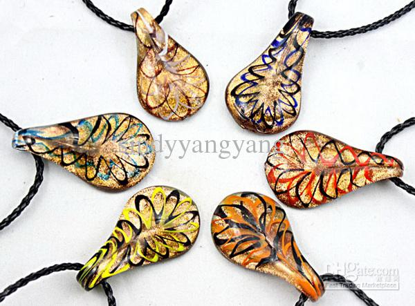 Ny 24PC Fashion Gold Dust Venetian Lampwork Murano Glass Beaded Waterdrop Hängsmycke Halsband Smycken