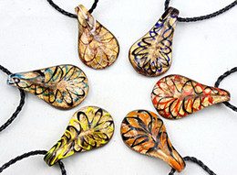 Wholesale Lampwork Murano Glass Pendants - New 24pc Fashion Gold Dust venetian Lampwork Murano Glass Beaded Waterdrop Pendant Necklace Jewelry