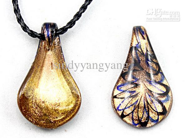 جديد 24 قطعة موضة الذهب الغبار البندقية lampwork زجاج مورانو مطرز waterdrop قلادة قلادة المجوهرات