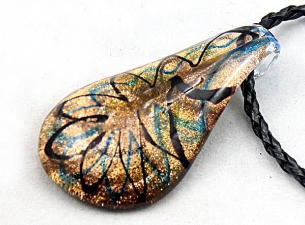 Nouveau 24 pc Mode Or Poussière Vénitien Murano Verre Perlé Perle de Eau Pendentif Collier Bijoux