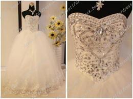 Wholesale Tulle Wedding Gown Diamond - Sexy Diamond Sweetheart Beading Tulle Bodice Lace Wedding Dresses Bridal Wedding Gowns Wedding Dress