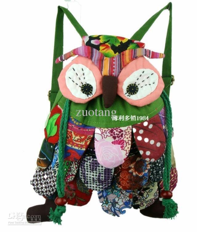 Leuke meisjes jongens kleine dier uil rugzak kinderen katoen hoge kwaliteit kind tas /