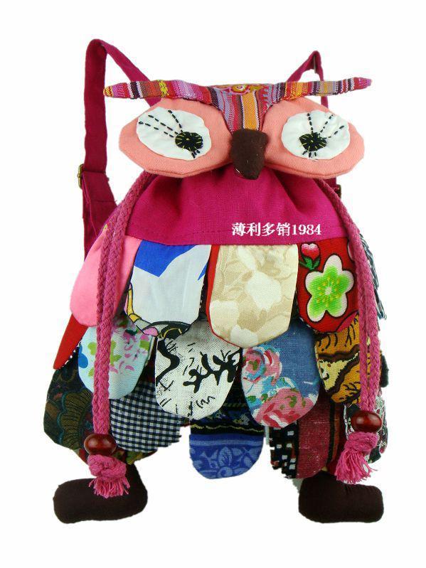かわいい女の子の男の子の小動物フクロウバックパック子供綿高品質の子供バッグ5ピース/ロット