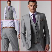 Wholesale Double Breasted Vest Tuxedo - Groom Tuxedos Best man Suit Wedding Groomsman Men Suits Bridegroom (Jacket+Pants+Tie+Vest) A001
