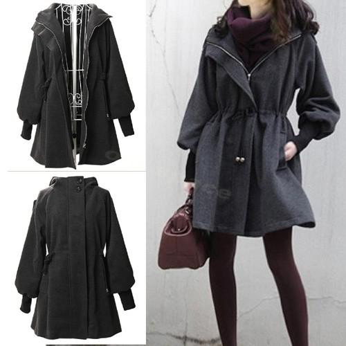 2017 New Womens Wool Long Winter Coat Hooded Parka Outwear Hot ...