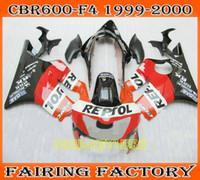 Wholesale 99 Cbr F4 Fairings - Custom orange repsol ABS fairing for 1999 2000 Honda CBR600 F4 cbr 600 CBRF4 99 00 full fairings kit