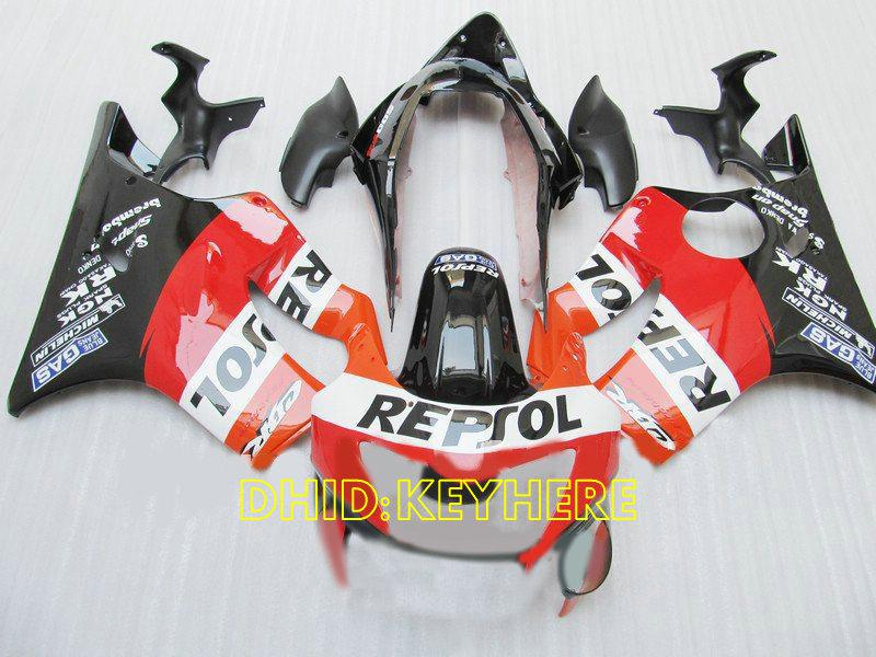 Aangepaste Oranje Repsol ABS FACKS VOOR 1999 2000 HONDA CBR600 F4 CBR 600 CBRF4 99 00 Full Backings Kit