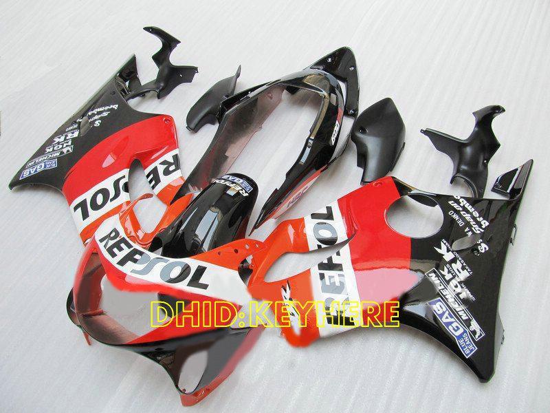 1999 년 2000 년 Honda CBR600 F4 cbr 600 CBRF4 99 00 가득 차있는 페어링 장비를위한 주문 주황색 repsol 아 BS 페어링