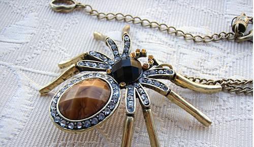 Mais novo elegante gem vintage completo strass aranha pingente de colar de mulheres swater cadeia 24 pçs / lote