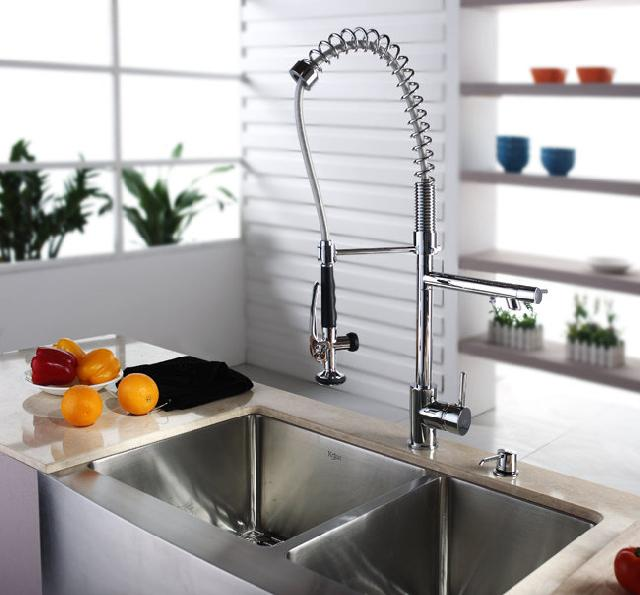 Single Hole Chrome Pull Down Kitchen Faucet With Kitchen Hot Novel Spray  (890)