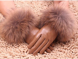 Wholesale Grey Fox Fur Warm - Fox fur Real lambskin Gloves skin gloves LEATHER GLOVES Warm Fashion 6pairs lot #2419