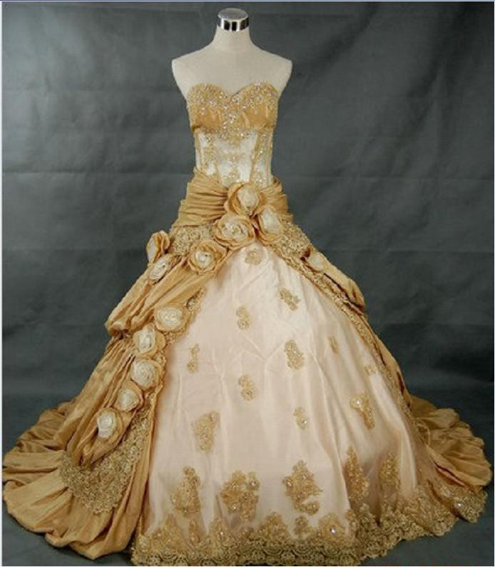 Discount Strapless A Line Gold Wedding Dresses Chapel Ball Gown ...