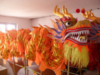 Wholesale Chinese Dragon Plates - 10m 6 adult Gold-plated Dragon Brand New Chinese DRAGON DANCE ORIGINAL Dragon Gold-plated Festival Celebration Costume.