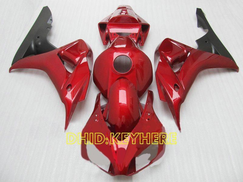 Injektion Röd Custom Racing Bodywork Set för 2006 2007 Honda CBR1000RR 06 07 CBR 1000 RR Fairings