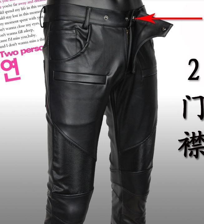 Envío gratis Nuevo llega los pantalones de invierno de alta calidad de los hombres de la marca Pantalones de cuero negro de PU de alto grado de importación de moda