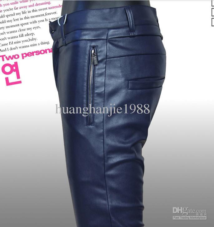 Gratis frakt 2019 nya mäns märke mode pu läder byxor personlighet tides motorcykel män byxor penna byxor / 28-35