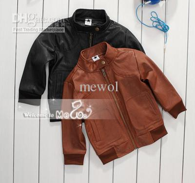 Children Leather Suit New Round Collar Coat Zipper Suits Kids ...