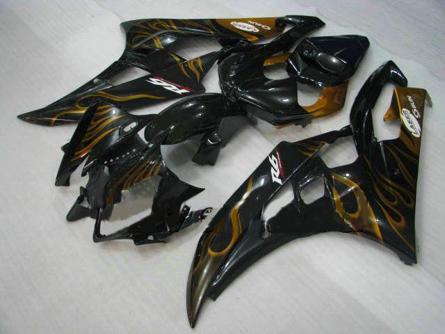 Gold flame bodywork fairings for YZF R6 06 07 YZF-R6 2006 2007 YZFR6 600 yzf600 fairing kit