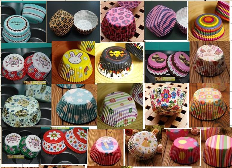 Surtido de 30 estilos de fiesta de la hornada de la taza de la magdalena de los moldes de papel de la taza de la hornada de la fiesta de cumpleaños