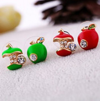 Wholesale Red Apple Earrings - hot fashion green red apple dissymetre stud earrings women's lucky cosplay party earrings gift free shipping