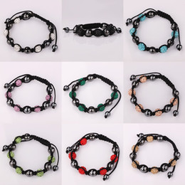 Wholesale Shambala Bracelets Macrame - Mixed Order Multi Colors Shambala Disco Crystal Beads Black Ball Interval Macrame Bracelet #BA108