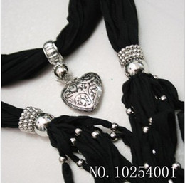 Wholesale Scarf Charms Heart - Soft Charm Pendant Scarves Jewelry Scarves Fashion Jewelry Scarf Mix Order 14 Colors Fress Ship